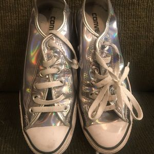 HTF Silver Holographic Women's Converse
